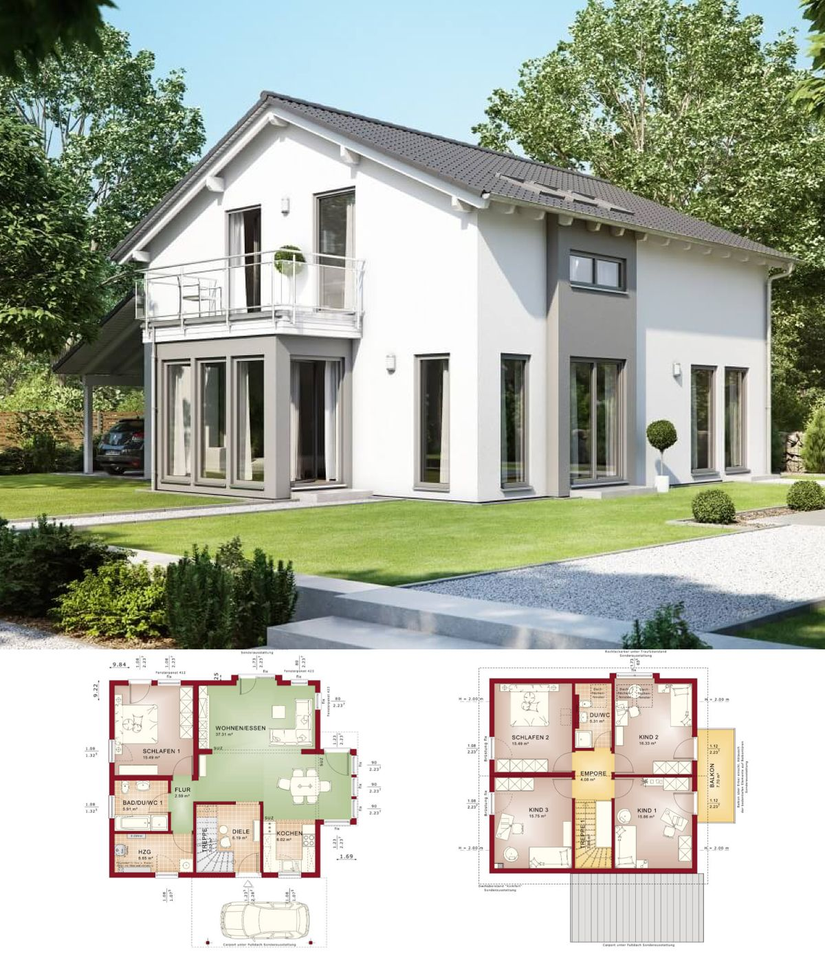 Einfamilienhaus mit grundriss haus solution 151 v7 for Modernes einfamilienhaus grundriss