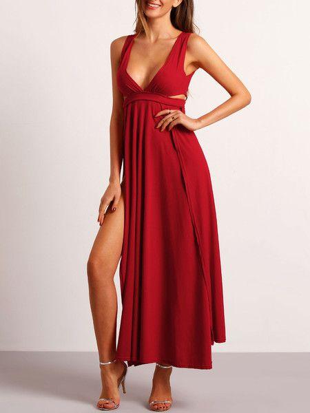 Red Deep V Neck Split Dress
