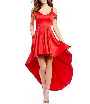 b6280025f2f Sequin Hearts Cold Shoulder Long High-Low Dress