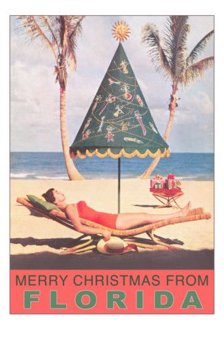 Vintage travel poster - USA - Florida for Christmas Merry Christmas from  Tanning Cove. card to send out