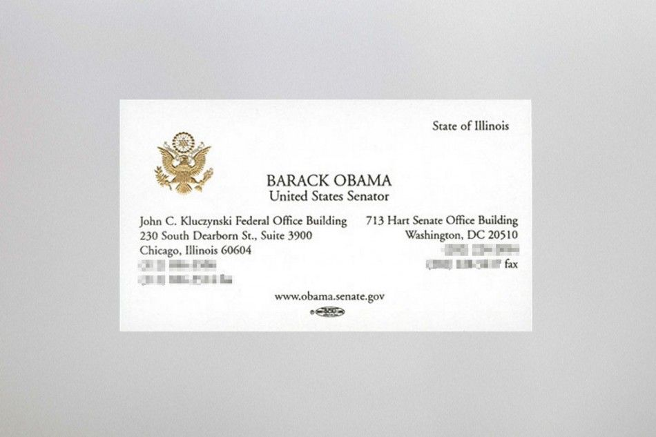 Business cards of the Rich and Famous - President Barack Obama ...