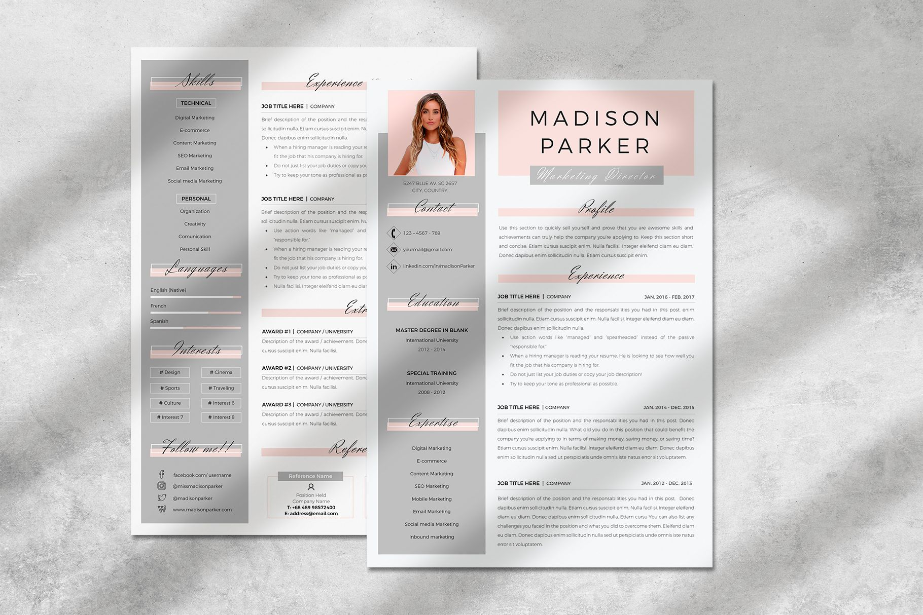 Creative Resume Templates For Ms Word And Mac Pages Professional Resume Templates And Matching Cover Lett Creative Resume Resume Design Resume Design Template Internship resume template microsoft word