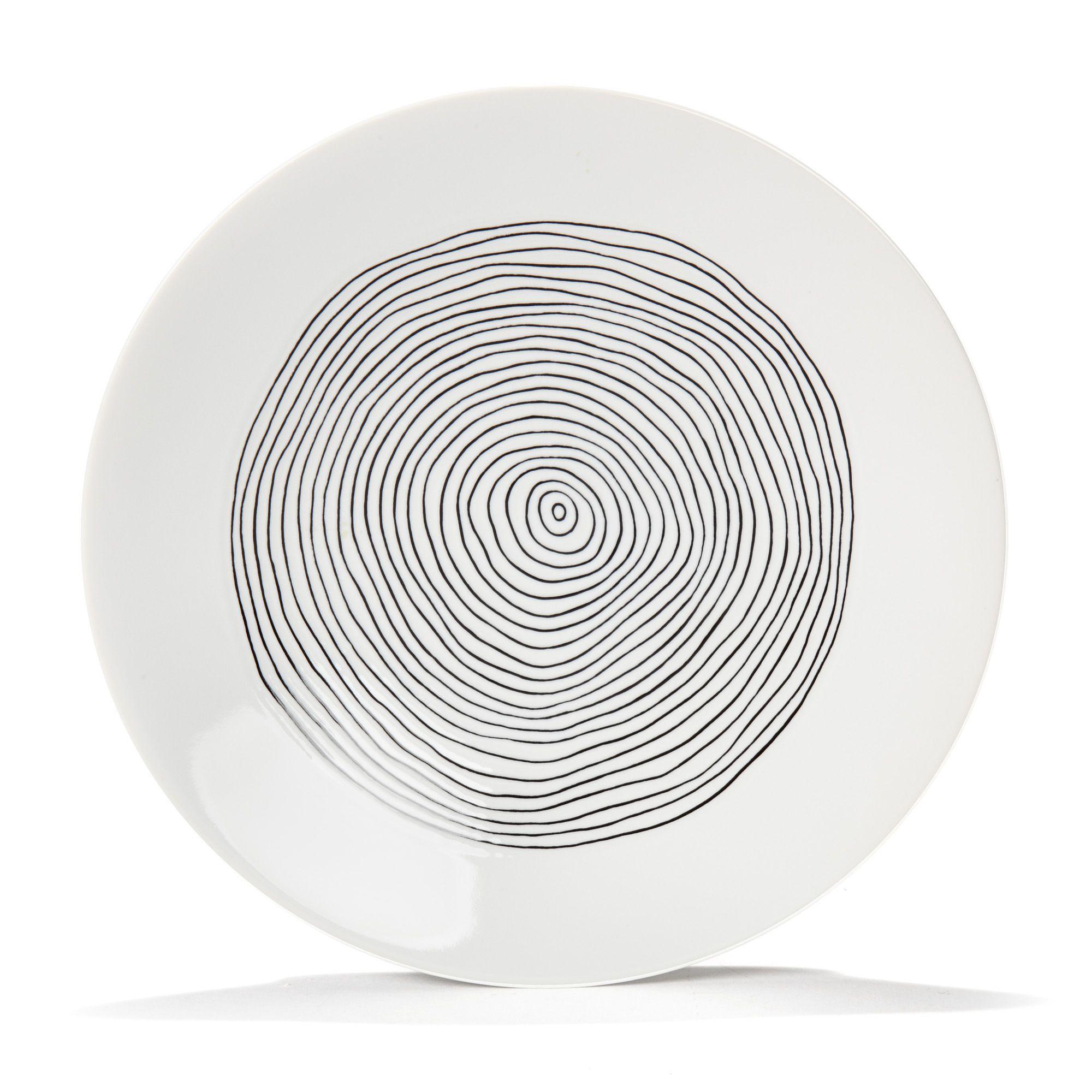assiette dessert en gr s blanc avec lignes irr guli res. Black Bedroom Furniture Sets. Home Design Ideas