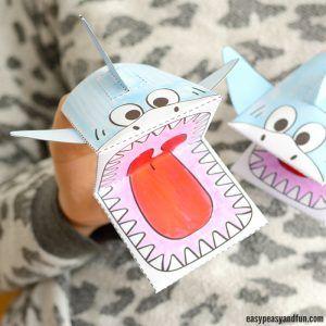 Surprise Big Mouth Shark Printable Shark puppet Paper