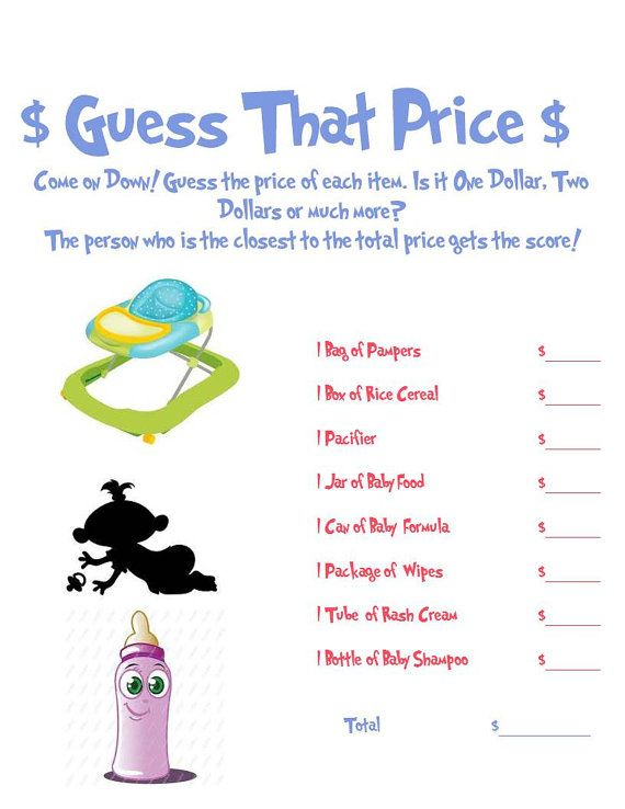 Guess That Price Baby Shower Game | Baby shower games, Gaming and ...