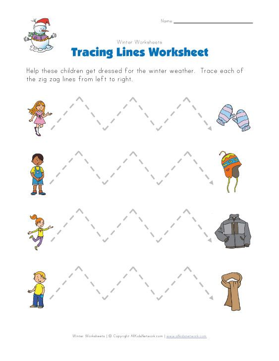 winter tracing zig zag lines worksheet Motricidad – Line Tracing Worksheets