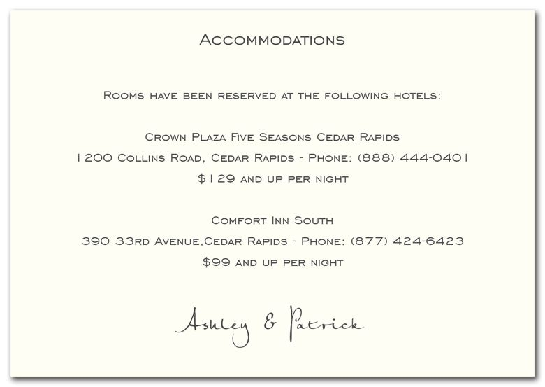 Accommodations Cards For Wedding Invitation Accommodation