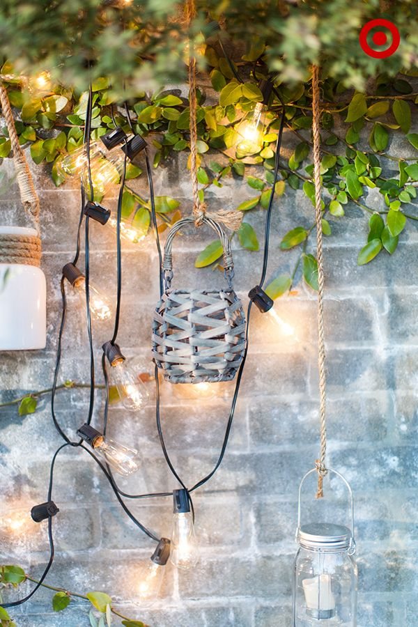 Target Home Style Expert, Emily Henderson, suggests hanging a variety of string lights and ...