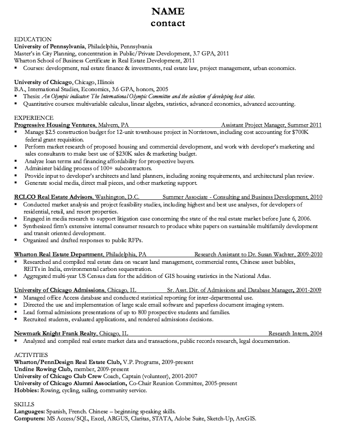 Chicago Admissions Resume Sample