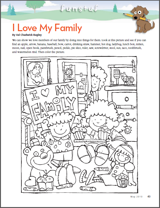 I Love My Family Hidden Picture Hidden Pictures Family Coloring Pages Lds Nursery
