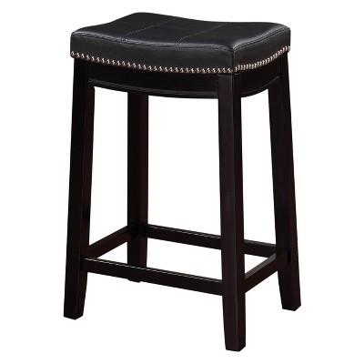 Claridge Leather Saddle 26 Counter Stool Black Linon Counter Stools Bar Stools Backless Bar Stools