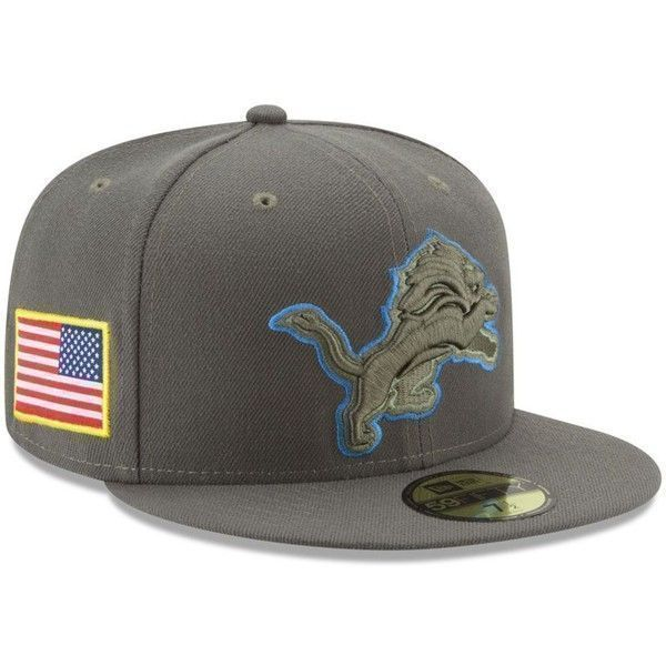 c043a4782a9 New Era Detroit Lions Salute To Service 59FIFTY Fitted Cap ( 30) ❤ liked on  Polyvore featuring men s fashion