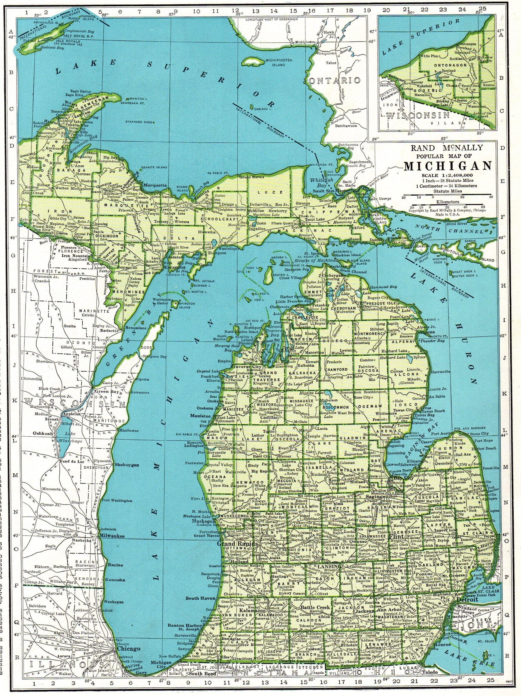 1942 Antique Michigan Map Vintage State