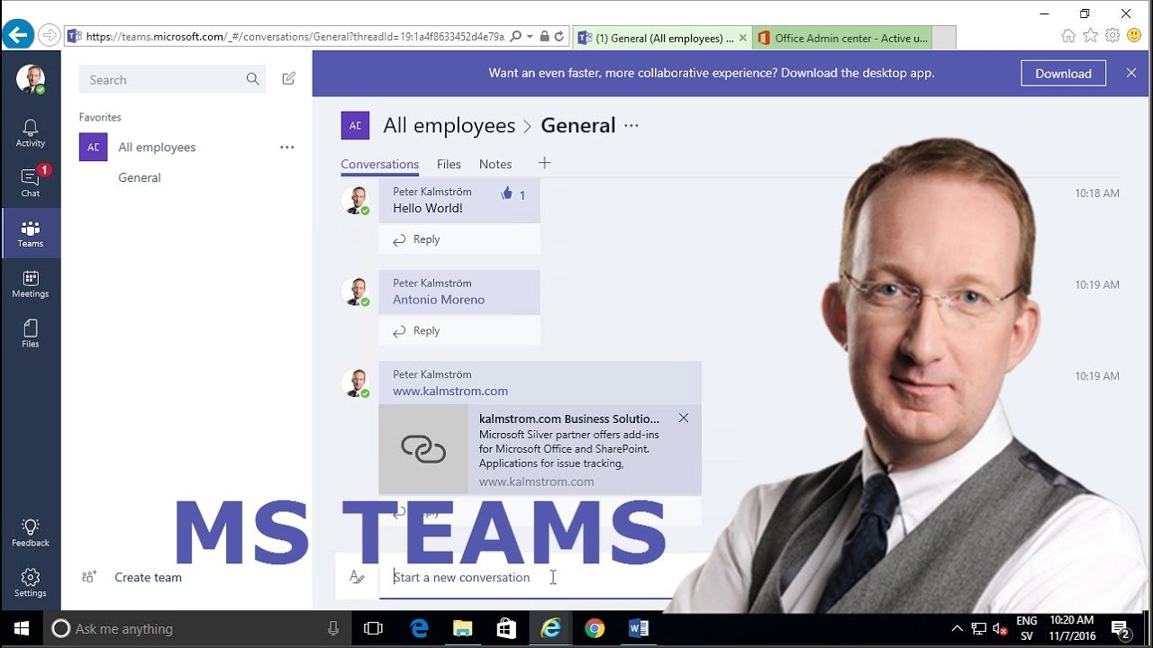 *Microsoft Teams for Office 365 Get started* Peter