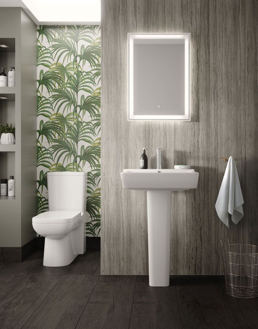 Combine Wood Effect Wall Panels With Bold Patterned Wall Paper For