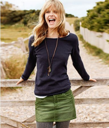 navy sweater with green skirt - love this!