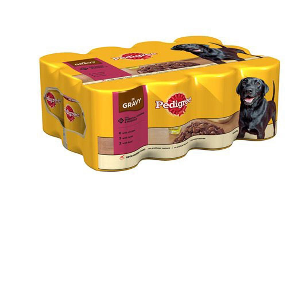 Pedigree Dog Food Tins Beef Chunks In Gravy 12 X 400g Pedigree