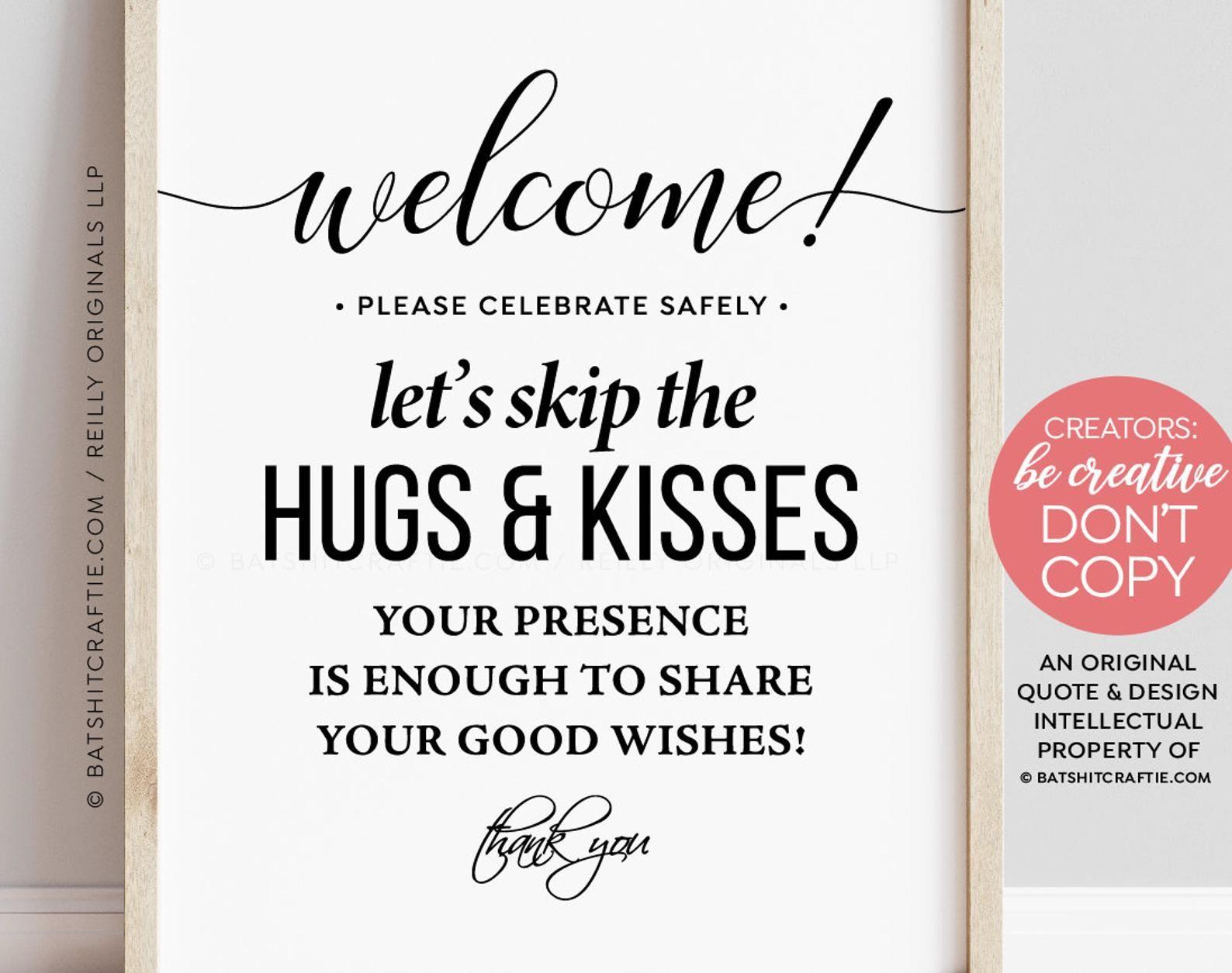 Celebrate Safely Skip Hugs Kisses Printable Party Poster Etsy Wedding Signs Printable Wedding Sign Wedding