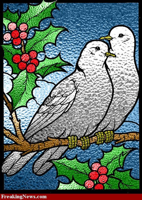 12days Of Christmas By Jackie Dehnert Two Turtle Doves Stained Glass Christmas Glass Painting Designs Stained Glass Birds