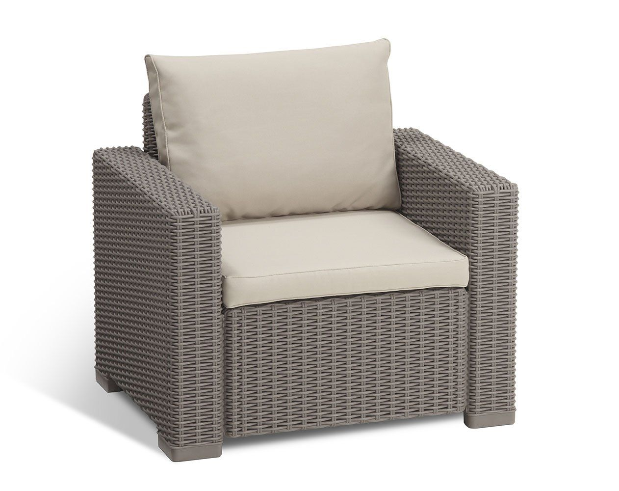 Keter California All Weather Outdoor Patio Armchair With Cushions In A Resin Plastic Wicker Pattern Cap Lounge Chair Outdoor Garden Furniture Sets Patio Chairs