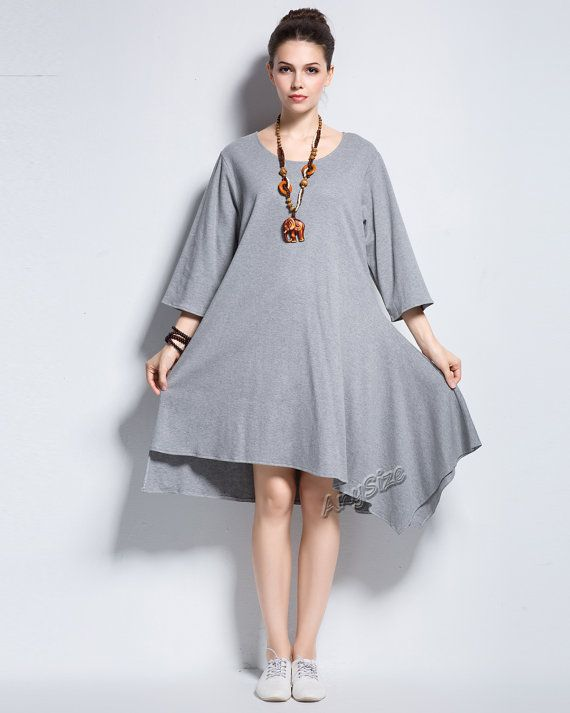 Anysize asymmetric design soft cotton dress plus size dress plus ...