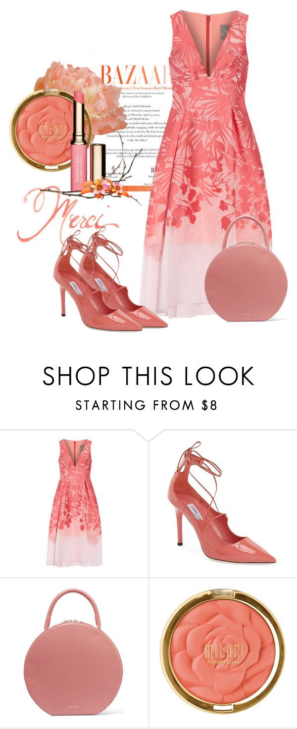 """Spring Coral"" by youaresofashion ❤ liked on Polyvore featuring Lela Rose, Jimmy Choo, Mansur Gavriel, Milani, Clarins and springdress"