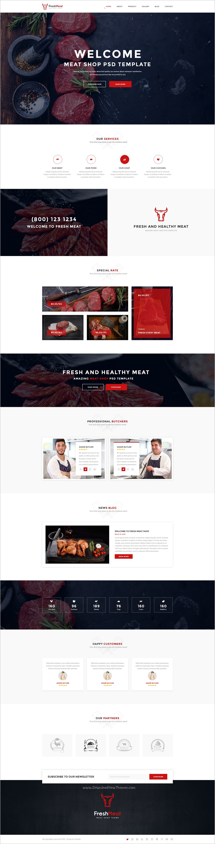 freshmeat is a wonderful 2in1 psd template for awesome meat shop