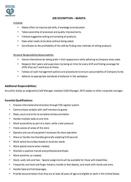 Supervisor Job Description For Resume Barista Resume Job Description  Httpjobresumesample1815