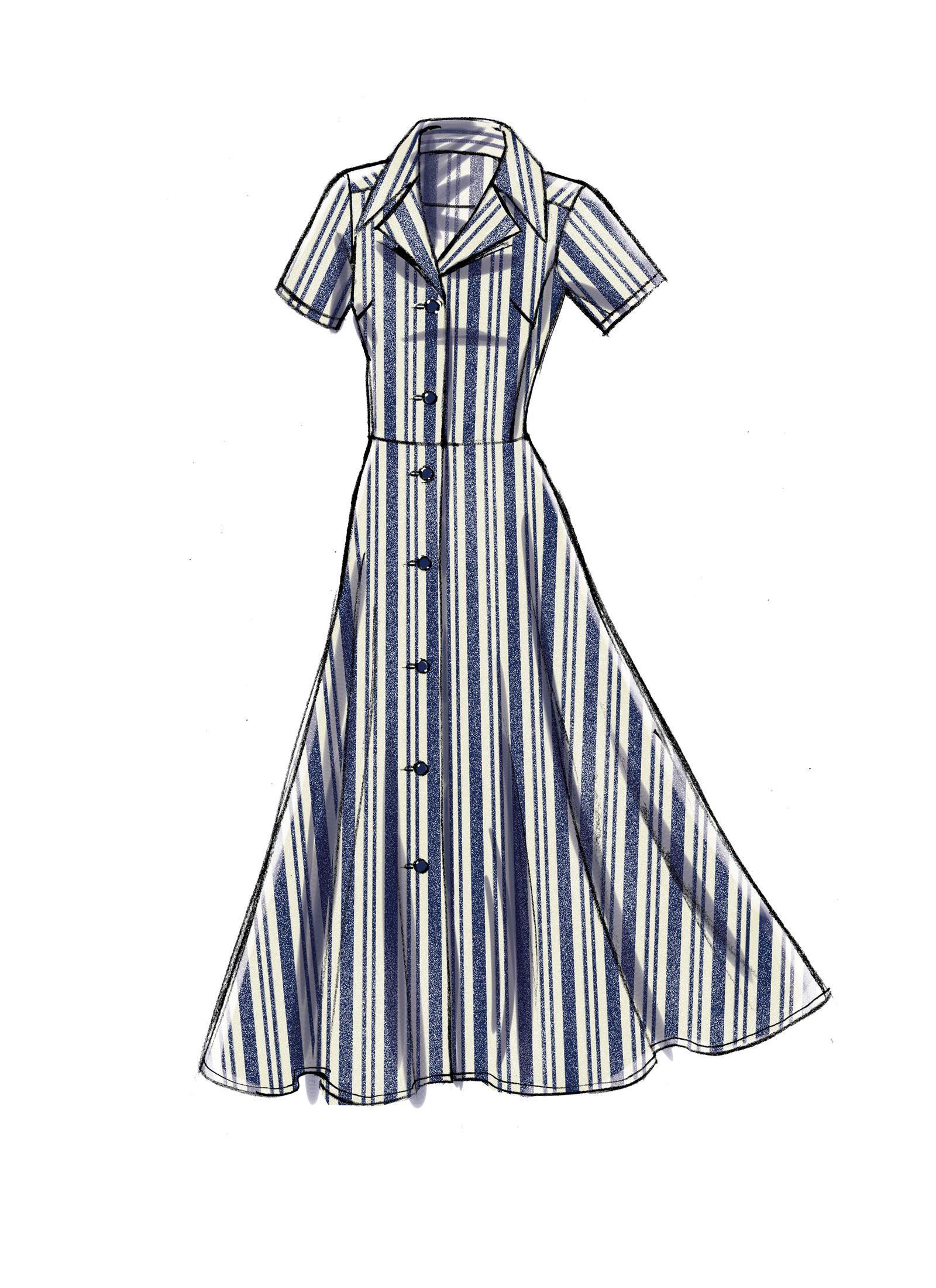 V9345 Fashion Design Clothes Dress Design Sketches Shirt Dress