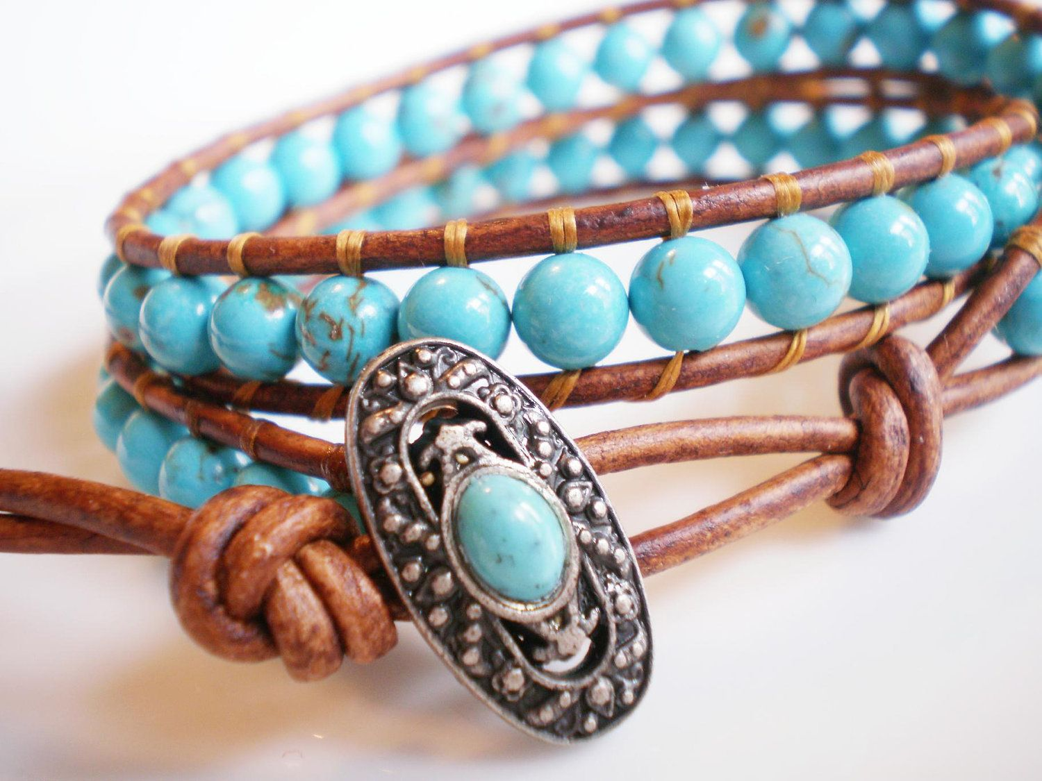 Turquoise Magnesite Double Leather Wrap Bracelet. by RopesofPearls