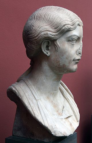 Roman marble portrait of Antonia the Younger (36 BCE - 37 CE), found in Tralles (Asia Minor). Dated to the first centry B.C. Ny Carlsberg Glyptotek, Copenhagen inv. 743.