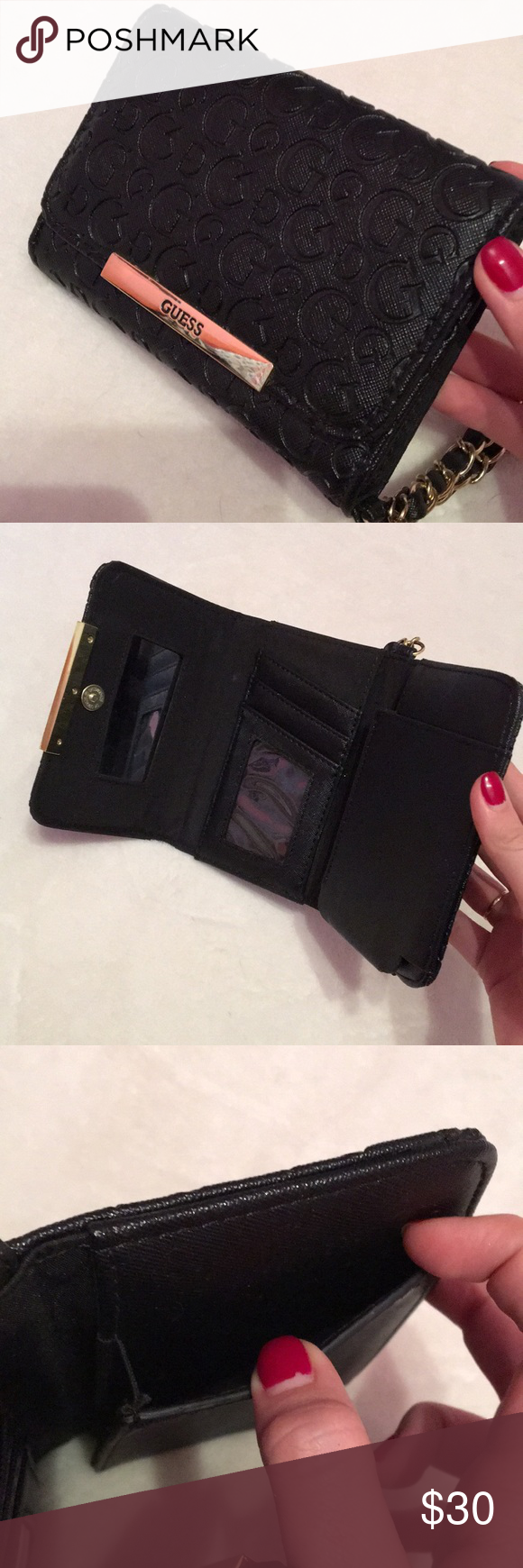 GUESS Wristlet Bag in Black💼 Bag bought directly in the GUESS store!! Has only been used once or twice so it is in perfect condition. The leather and stitching isn't worn out and the gold isn't rusted or marked. :)   💼 NO TRADES   💼 ONLY ACCEPTING OFFERS USING OFFER BUTTON Guess Bags Clutches & Wristlets