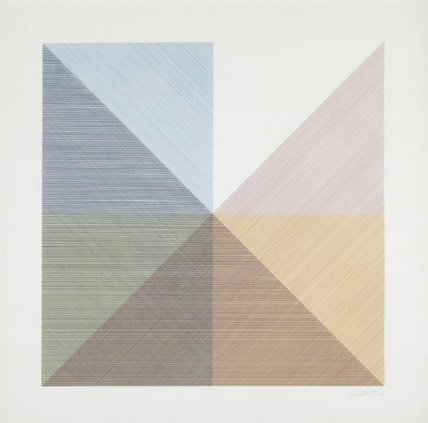 Sol LeWitt, Eight squares with a different color in each half square (divided vertically & horizontally) composite: one plate, 1982
