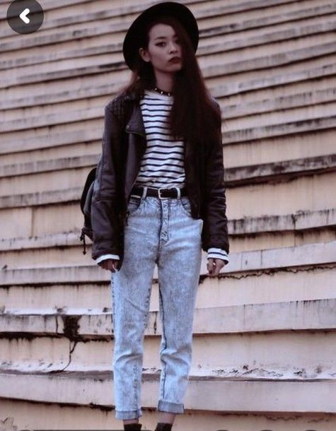 Jeans high waisted jeans, 90s grunge, vintage, 90s style, striped shirt,  black, hat, shirt , Wheretoget