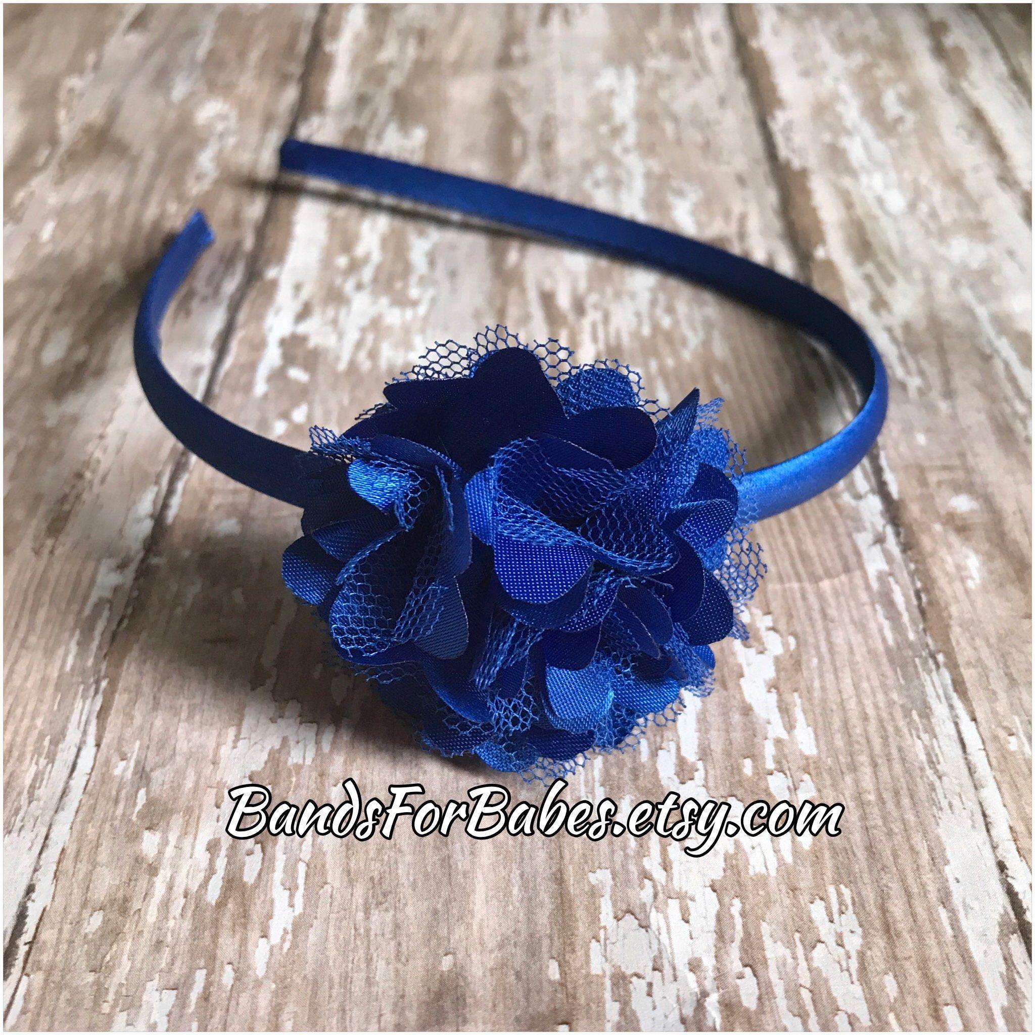 Royal Blue Satin And Tulle Flower Headband Girls Basic Headband