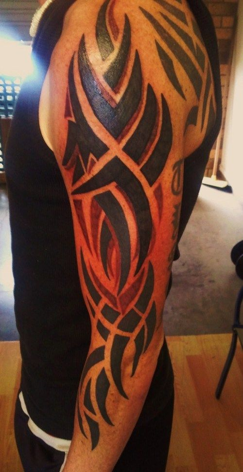 black ink tribal tattoos on arm magnificent tattoos pinterest rh pinterest com Red and Black Tribal Wolf Tattoos red and black tribal cross tattoos