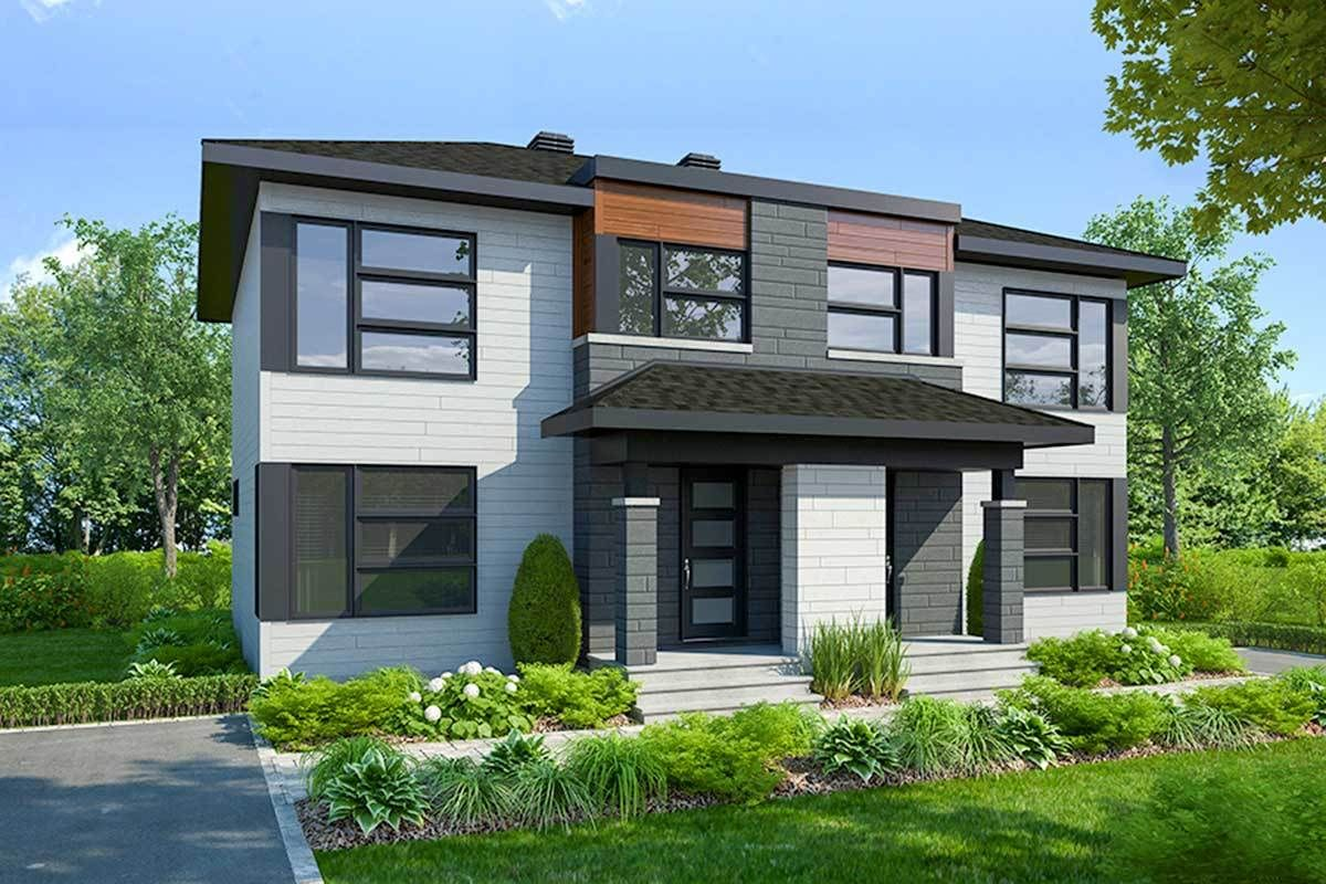 Plan 22514dr Modern Duplex With Matching 3 Bed Units In 2021 Modern Style House Plans Modern House Plans Duplex House Design