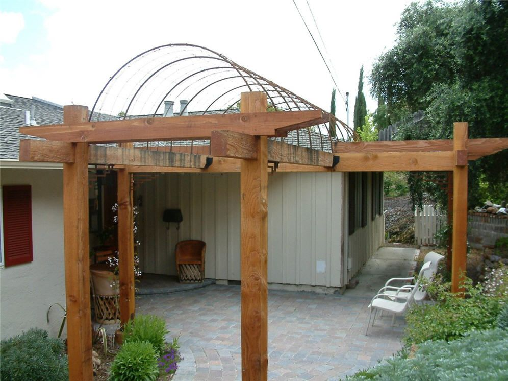 Wood trellis and rebar arches arbors pinterest wood for Trellis or arbor