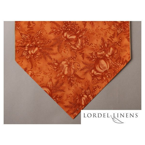 """Pumpkin Table Runner, 36"""" Table Runner, Pumpkins and Berries, Burnt... ($14) ❤ liked on Polyvore featuring home, kitchen & dining, table linens, thanksgiving table runner, pattern table runner, modern table linens, fall table linens and thanksgiving table linens"""