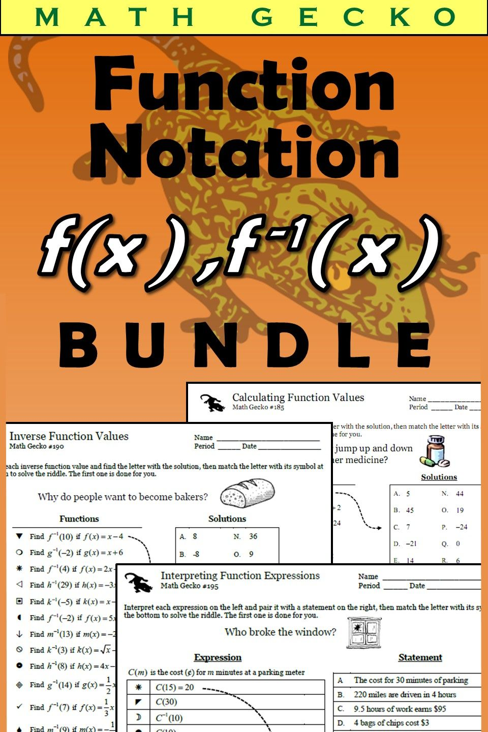 hight resolution of Function Notation Bundle   Notations