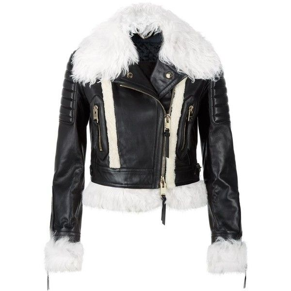 Burberry Runway Shearling Trim Lambskin Biker Jacket ($2,120) ❤ liked on Polyvore featuring outerwear, jackets, lambskin jacket, shearling lined jacket, zip jacket, biker jacket and cropped moto jacket
