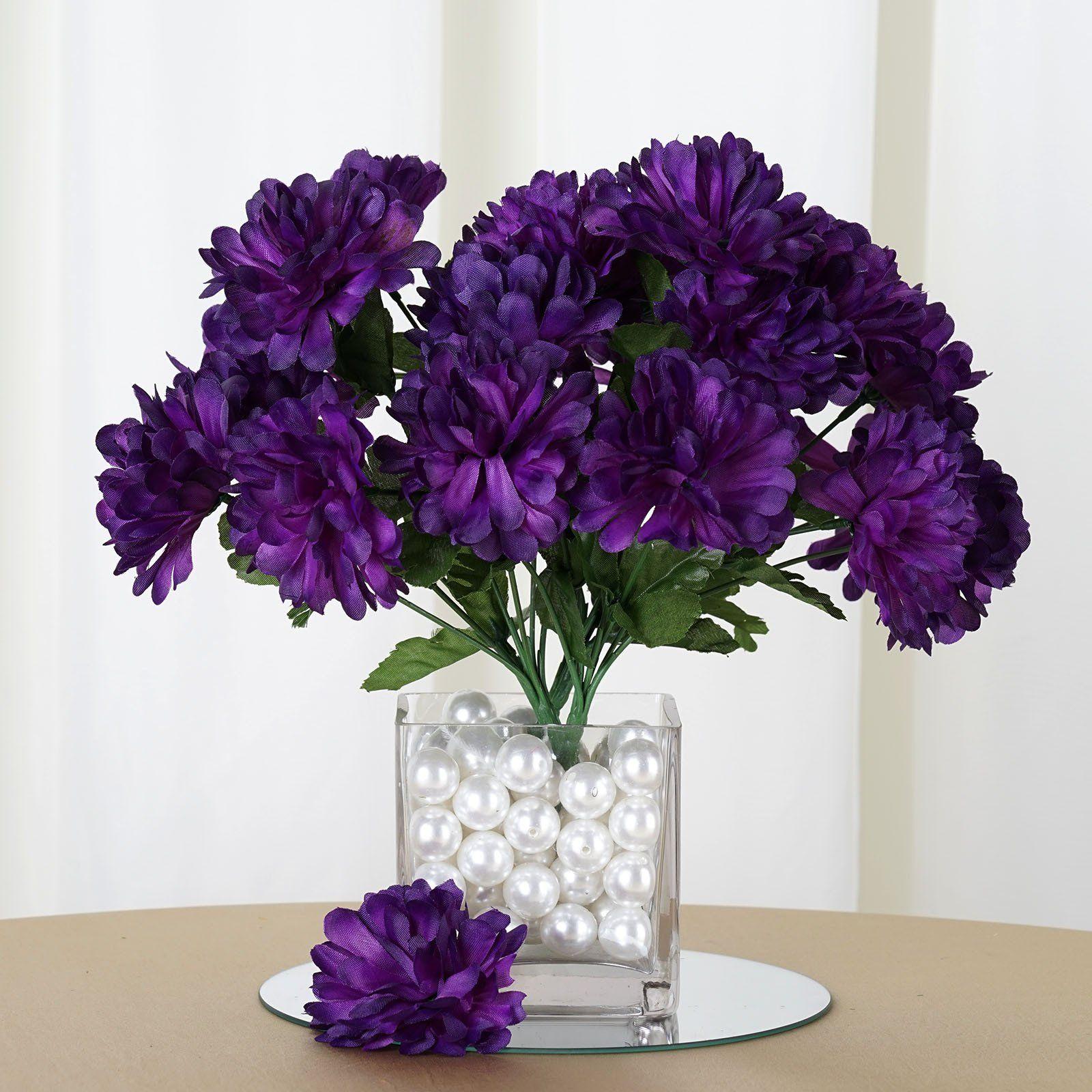 84 Artificial Silk Chrysanthemum Wedding Flower Bush Bouquet Centerpiece Decor - Purple