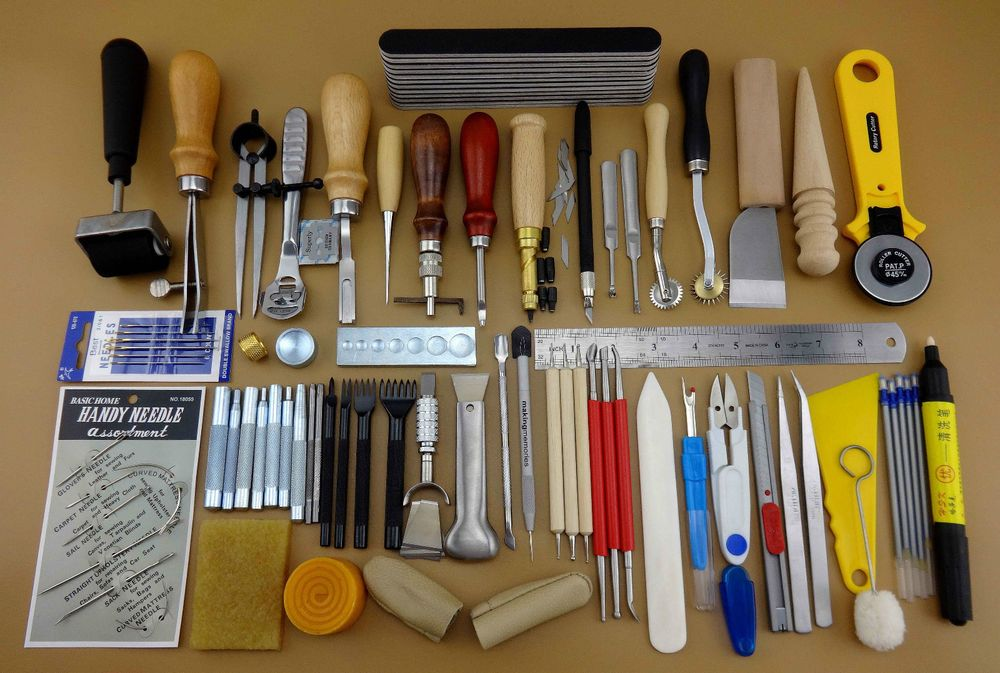 60 Tools Leathercraft Tool Kit Leather Hand Sewing Tool ...