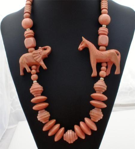 Statement Figural Carved Wood Horse Elephant Animal Bead Estate Necklace Vintage