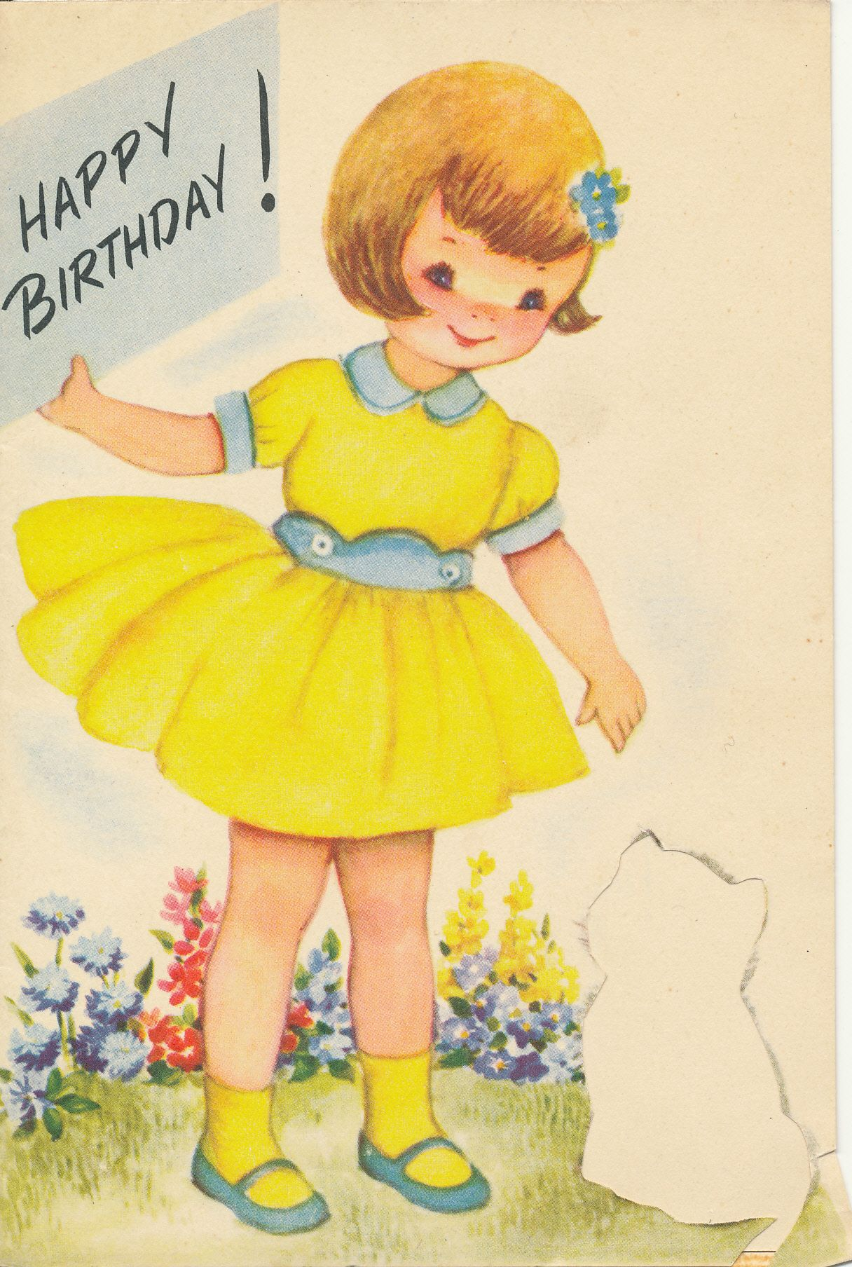 Birthday Card Cat Seems To Be Missing Circa Early 1960s A Rust