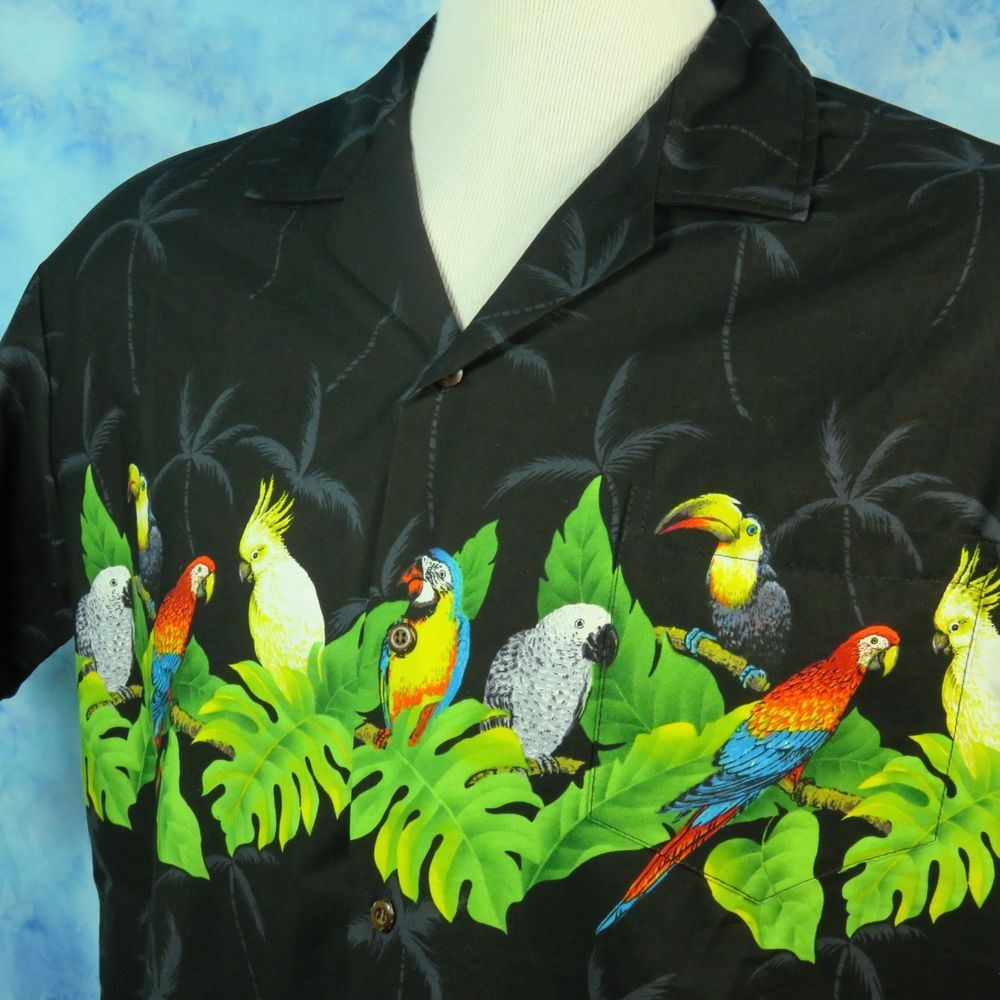 Mens Embroidered Hawaiian Shirt in Navy Toucan Lounge