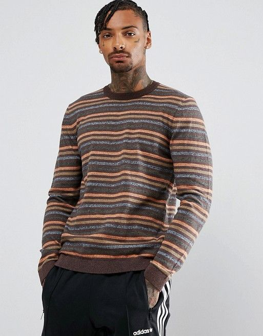 ASOS Striped Sweater In Brown