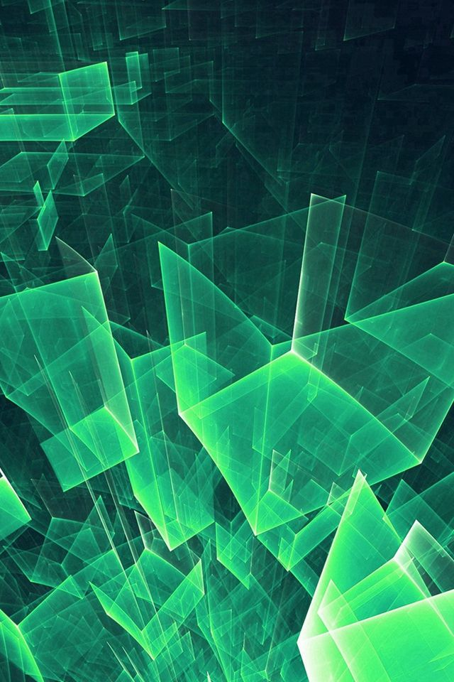 Abstract Blue Green Cube Pattern iPhone 4s Wallpapers   배경 ...