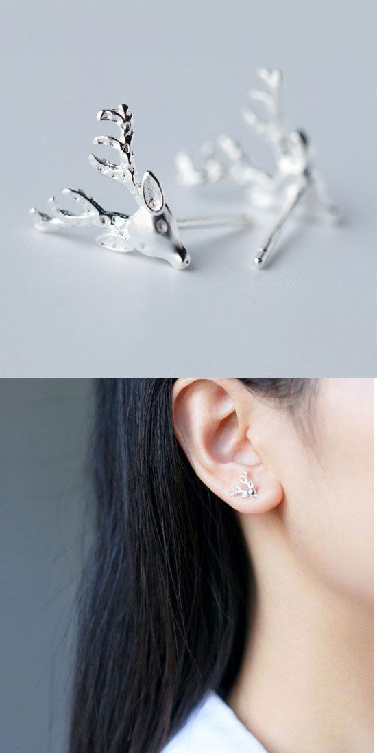1ae6c235c so cute earrings ! Unique Deer Elk Silver Lady Animal Women's Earring Studs  #earring #deer #elk #silver