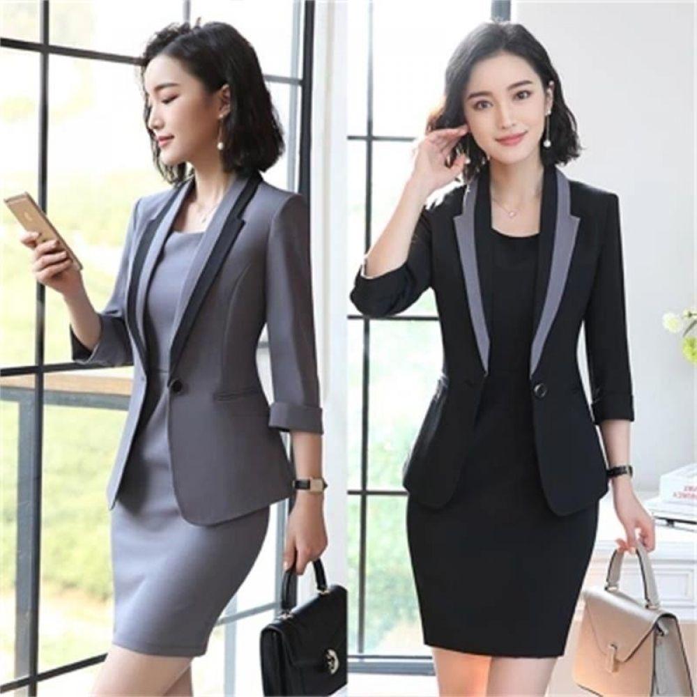 alphamerchnet.com2018 Hot Ladies Dress Suit for Work Full Sleeve Blazer+Sleeveless Dress 2 Pieces Set For Businesss Women #branddresses